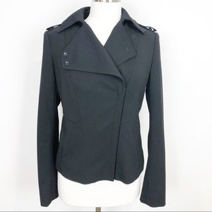 ANN TAYLOR BLACK ZIP FRONT BLAZER WITH LAPELS